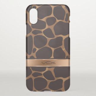 Capa Para iPhone X Impressão moderno do leopardo de Brown & de cobre