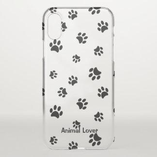 Capa Para iPhone X Impressões pretos da pata do amante dos animais