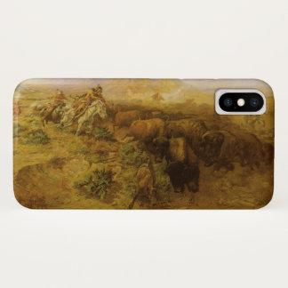 Capa Para iPhone X Indianos do vintage, caça do búfalo por CM Russell