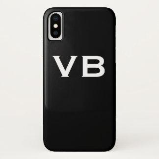 Capa Para iPhone X Iniciais preto e branco simples do monograma