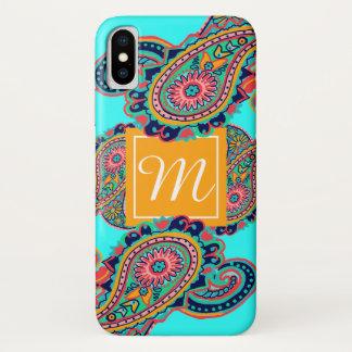 Capa Para iPhone X Inicial brilhante do monograma de Paisley do Aqua