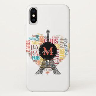 Capa Para iPhone X Inscrição Paris da torre Eiffel | no coração