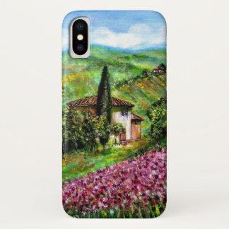 Capa Para iPhone X ÍRIS em TOSCÂNIA, paisagem roxa dos campos de flor