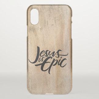 Capa Para iPhone X Jesus é país de madeira rústico religioso épico