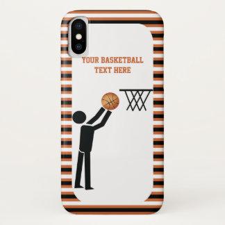 Capa Para iPhone X Jogador de basquetebol com bola e listras