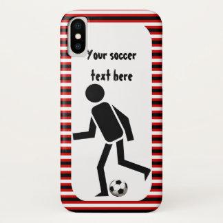 Capa Para iPhone X Jogador de futebol e listras pretas e vermelhas da