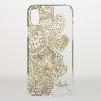 Capa Para iPhone X Laço do ouro do monograma e coração do céltico