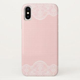 Capa Para iPhone X Laço floral cor-de-rosa bonito elegante feminino