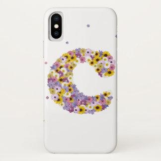 Capa Para iPhone X Letra C da flor