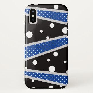 Capa Para iPhone X Linha azul preta das bolinhas