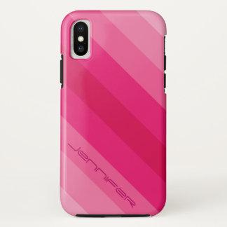 Capa Para iPhone X Listra diagonal cor-de-rosa moderna nome cinco