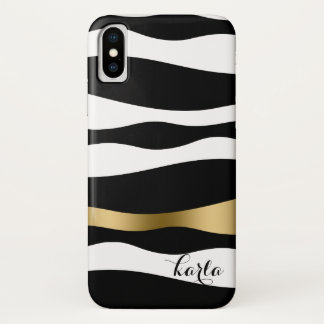 Capa Para iPhone X Listras abstratas pretas & do branco da zebra
