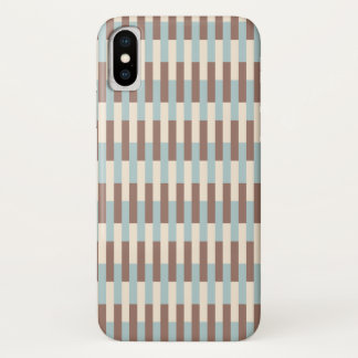 Capa Para iPhone X Listras azuis de Brown Tan