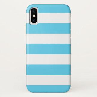 Capa Para iPhone X Listras azuis e brancas corajosas