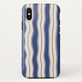 Capa Para iPhone X Listras azuis e brancas onduladas
