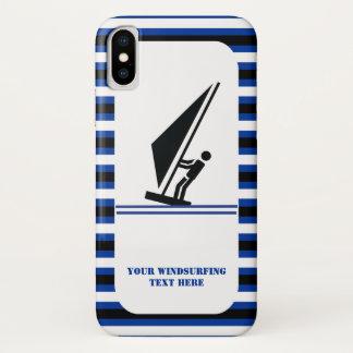 Capa Para iPhone X Listras azuis pretas do Windsurfer a bordo que