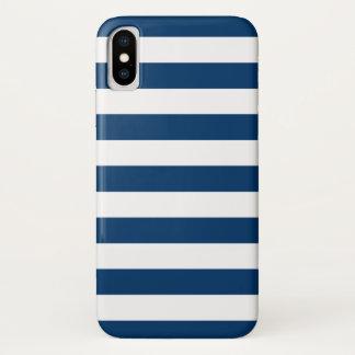 Capa Para iPhone X Listras de azuis marinhos brancas corajosas
