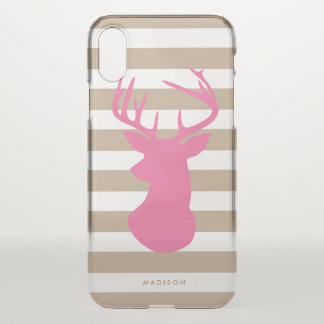 Capa Para iPhone X Listras de linho da cabeça cor-de-rosa elegante
