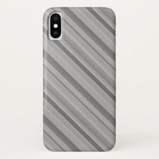 Capa Para iPhone X Listras diagonais cinzentas