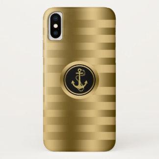 Capa Para iPhone X Listras do ouro com a âncora náutica do barco
