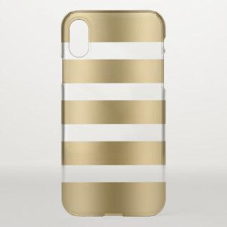 Capa Para iPhone X Listras metálicas modernas do ouro no branco