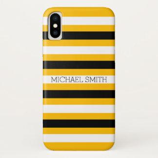 Capa Para iPhone X Listras modernas ambarinas brancas pretas