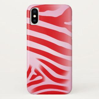 Capa Para iPhone X Listras vermelhas e cor-de-rosa do impressão da
