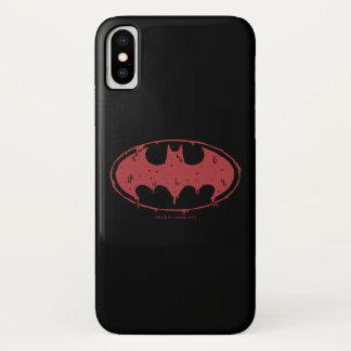 Capa Para iPhone X Logotipo Oozing do bastão vermelho de Batman |