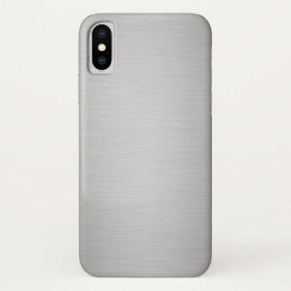 Capa Para iPhone X Luxo metálico de prata elegante