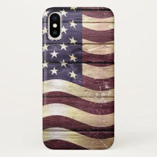 Capa Para iPhone X Madeira do vintage da bandeira americana