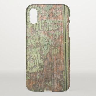 Capa Para iPhone X Madeira verde gasta e resistida do celeiro