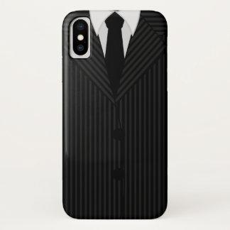 Capa Para iPhone X Magro elegante preto masculino do terno e do laço