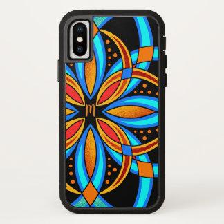 Capa Para iPhone X mandala alaranjada azul da arte digital