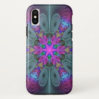 Capa Para iPhone X Mandala da arte colorida Center do Fractal com