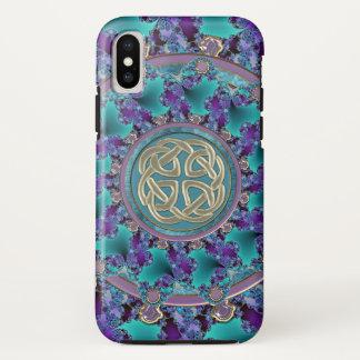 Capa Para iPhone X Mandala Jeweled do Fractal com nó celta