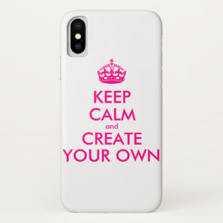 Capa Para iPhone X Mantenha a calma e criar seus próprios - rosa