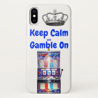 Capa Para iPhone X Mantenha a calma e o jogo em Las Vegas