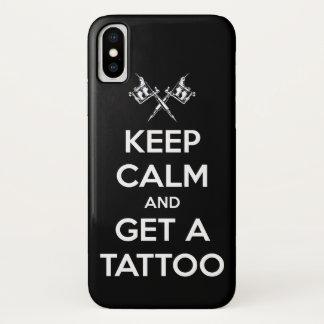Capa Para iPhone X Mantenha a calma e obtenha um tatuagem