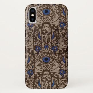 Capa Para iPhone X Mão de Pyrographed Hamsa com cor na madeira
