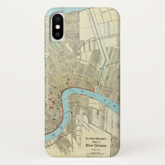Capa Para iPhone X Mapa 1919 de Nova Orleães do vintage