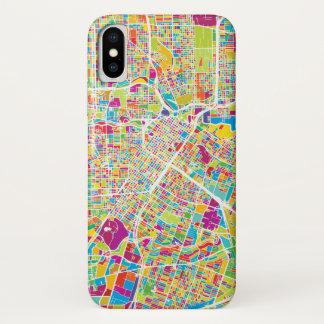 Capa Para iPhone X Mapa de néon de Houston, Texas |