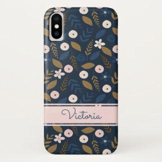 Capa Para iPhone X Marinho, rosa, caso floral do iPhone X da case