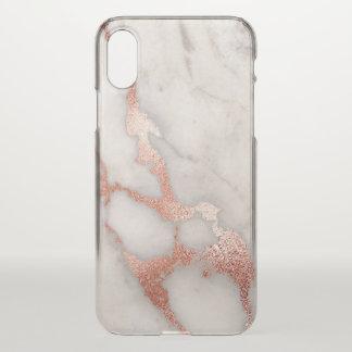 Capa Para iPhone X Mármore cor-de-rosa do brilho do ouro do na moda