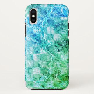 Capa Para iPhone X Mármore moderno brilhante do verde azul do mar