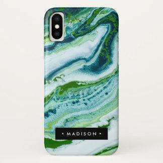 Capa Para iPhone X Mármore verde personalizado