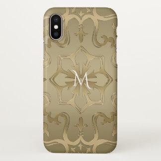 Capa Para iPhone X Máscaras do monograma da mandala do ouro