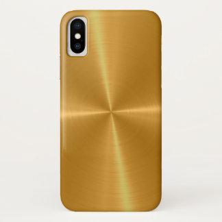 Capa Para iPhone X Metal de aço inoxidável brilhante do ouro
