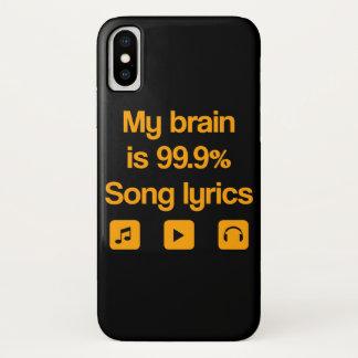 Capa Para iPhone X Meu cérebro é 99,9% poemas líricos da canção