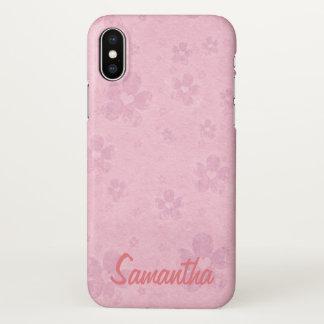 Capa Para iPhone X Modelo cor-de-rosa sujo do nome do coração da flor