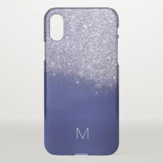 Capa Para iPhone X Monograma azul roxo do brilho do cobalto de Lavada